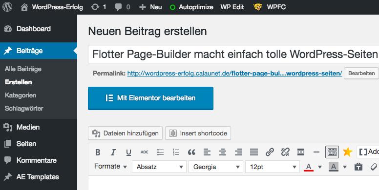 Elementor-Beitrags-Editor