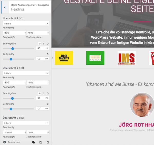 Überschiften-Formate im Theme Customizer