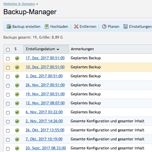 Backup-Manager BitPalast
