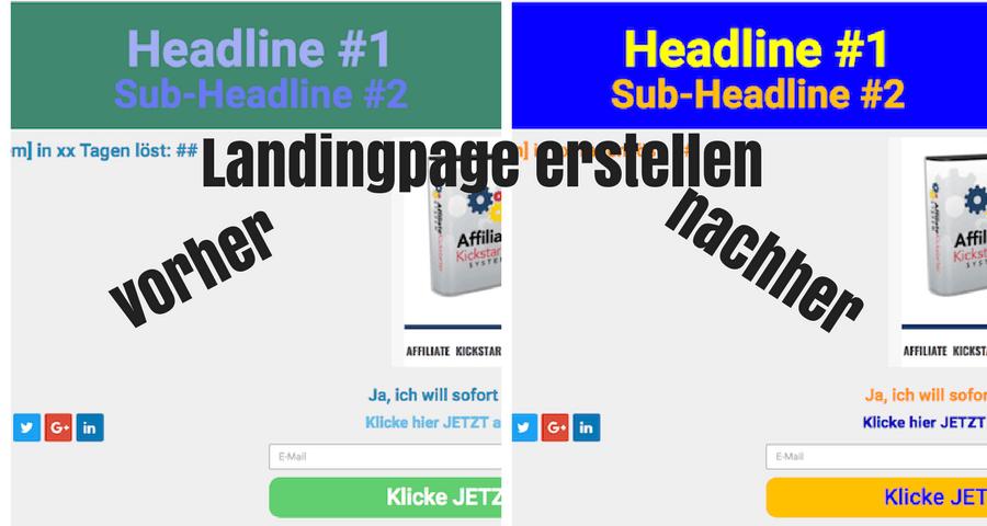 Landingpage erstellen vorher - nachher