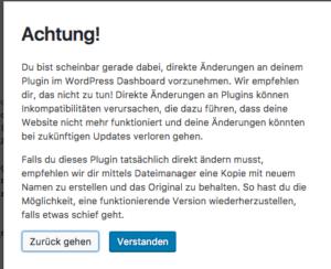 Plugin-Editor-Warnung