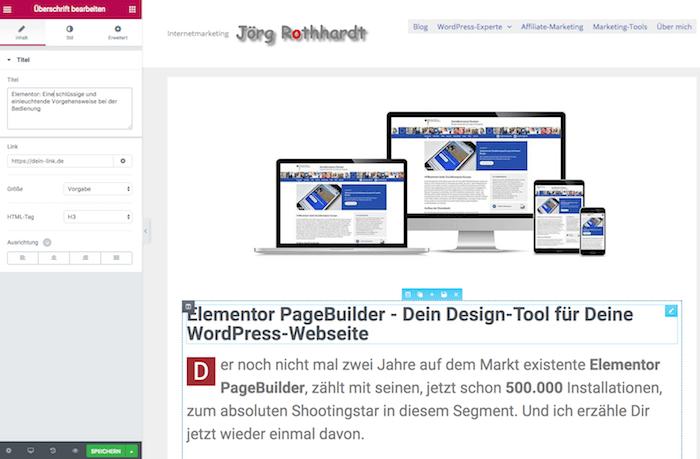 WordPress Page-Builder Elementor Beitragsbearbeitung