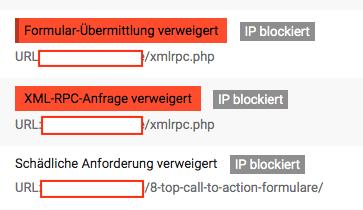 Versuche von diversen Zugriffen auf WordPress