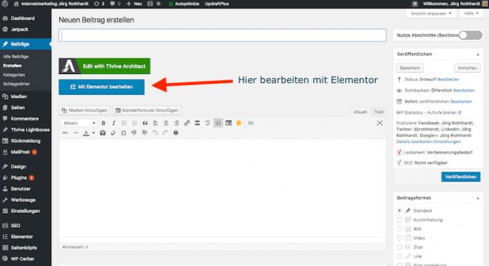 WordPress Page-Builder Elementor Beitrag bearbeiten